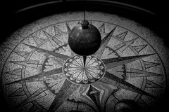 Foucault pendulum  black and white image Royalty Free Stock Photo