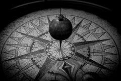 Foucault pendulum  black and white image. Foucault pendulum  - black and white image Royalty Free Stock Photo
