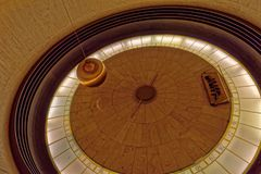 Foucault pendulum in Griffith observatory. The Foucault pendulum used to demonstrate the Earth's rotation in Griffith Observatory in Los Angeles, California Royalty Free Stock Photography