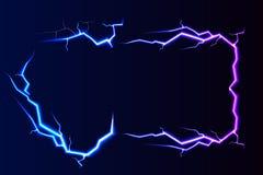 Foudre de vecteur - d'isolement sur le fond bleu, bannière lumineuse d'effets de la lumière avec l'endroit pour le texte illustration stock