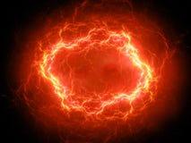 Foudre sphérique rougeoyante ardemment de plasma de haute énergie dans l'espace illustration libre de droits