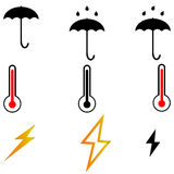 Foudres de thermometr de parapluie trois articles Photo stock