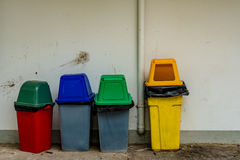 Foue color trash can Stock Images
