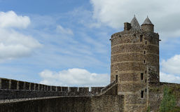 Fougere Castle. Scenic view of Fougere Castle in France showing tower and battlements Stock Photography