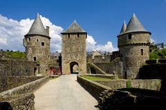 Fougeres, Brittany, France. Outdoor, outdoors, outside, exterior, exteriors, europe, western, bretagne, dpartement, ille-et-vilaine, chateau, architecture, old royalty free stock image