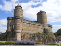 Fougeres Castle, France. Part of the impressive defensive wall of the medieval Fougeres Castle in Normandy in Northern France Royalty Free Stock Photo