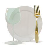 Fougeres, a fork and a plate. Royalty Free Stock Photography
