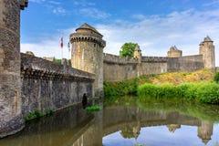 Fougeres-Schloss in Bretagne stockfotografie