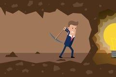 Fouille d'homme d'affaires la terre à la recherche des idées Illustration de vecteur illustration de vecteur
