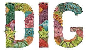 FOUILLE de Word Objet décoratif de zentangle de vecteur illustration stock