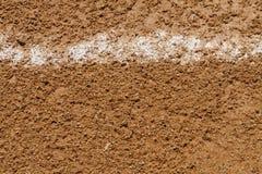 Foul Ball-Kreidemarkierung auf einem Baseball-Feld Stockfoto