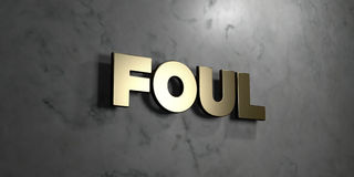 Foul - Gold sign mounted on glossy marble wall  - 3D rendered royalty free stock illustration Stock Photos