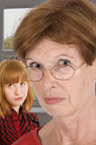 Foul mood. Granny and granddaughter be in foul mood Stock Photos