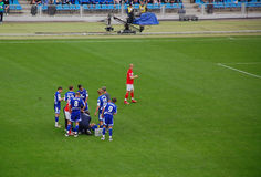 Foul Play. Roman Pavlyuchenko is looking back after being sent off for foul play. Spartak (Moscow) vs Dynamo (Moscow), 13 April, 2008, FC Dynamo stadium, Moscow Stock Photos