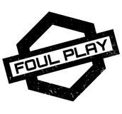 Foul Play rubber stamp. Grunge design with dust scratches. Effects can be easily removed for a clean, crisp look. Color is easily changed Stock Photography