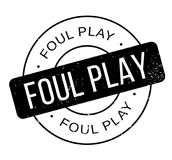 Foul Play rubber stamp. Grunge design with dust scratches. Effects can be easily removed for a clean, crisp look. Color is easily changed Stock Images
