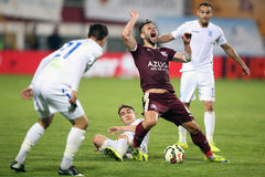 Foul during soccer or football match royalty free stock photography