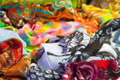 Foulard scarves of many colors and patterns. A Royalty Free Stock Image