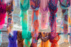 Foulard scarves of many colors and patterns Stock Photography