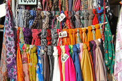 Foulard. A showy exhibition of foulard in various nuances of color Stock Photo