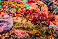 Foulards. Scraps of different colored cloths Royalty Free Stock Photo