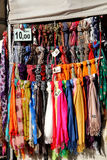 Foulards. A showy exhibition of foulard in various nuances of color Stock Photography