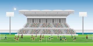 Foule dans la tribune de stade au jeu encourageant d'équipe de match de football illustration de vecteur