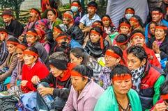 Foule de écoute dans le Bihar Photos stock