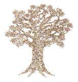 Foule de dessin animé, arbre Photos stock