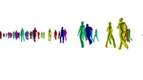 foule de la couleur 4k des personnes sur le blanc illustration libre de droits