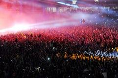 Foule de partie à un concert Photo stock