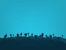 Foule de silhouette de fans illustration de vecteur