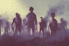 Foule de zombi marchant la nuit illustration de vecteur