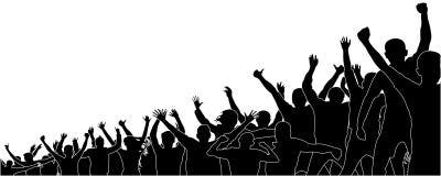 Foule des fans de sports Foule des personnes dans le stade Assistance gaie illustration de vecteur