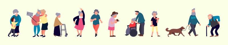 Foule des personnes âgées Activités en plein air supérieures Marche de vieux hommes et de femmes Activités de récréation et d'aîn illustration de vecteur