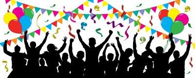 Foule des personnes d'amusement sur la partie, vacances Événement gai Les gens ayant la célébration d'amusement illustration libre de droits