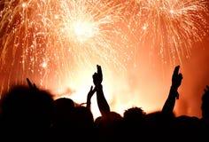 Foule et feux d'artifice, concept de nouvelle année Image libre de droits