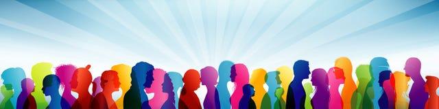 foule Groupe de personnes équipe Communication entre les personnes Profils colorés de shilouette illustration libre de droits