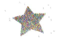 Foule humaine formant un symbole d'étoile photos libres de droits