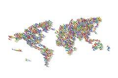 Foule humaine formant une carte du monde photo libre de droits