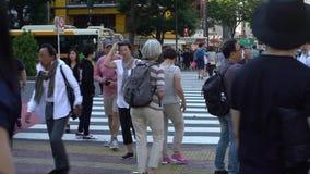 foule 4K du passage pour piétons dans Shibuya Tokyo Passage piéton Japon de bousculade banque de vidéos