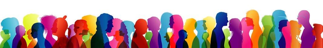 Foule parlante Dialogue entre les personnes Profils colorés de silhouette Parler de gens Exposition multiple illustration de vecteur