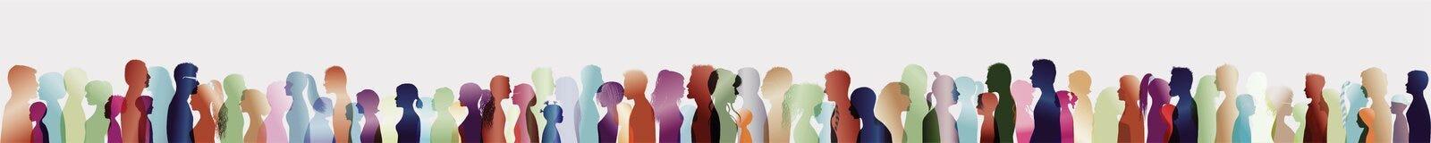 Foule parlante Grand groupe de personnes Dialogue entre les personnes Profils de silhouette Parler de gens ExposureTalking multip illustration libre de droits