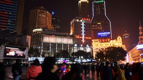Foule sur la route Changhaï de Nanjing Photos stock