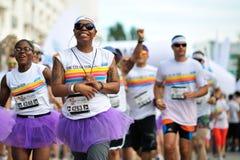 Foules des personnes non identifiées à la course de couleur Images libres de droits