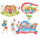 Foules heureuses encourageantes des bannières nationales de Team Fans And Devotees With de sport et du soutien d'attributs illustration libre de droits