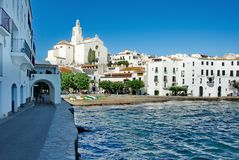 Foumous white of the Costa Brava Cadaques village Stock Photography