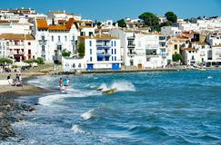 Foumous white of the Costa Brava Cadaques village Stock Photos