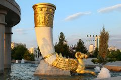 Founain complex in the park. Turkmenistan. Royalty Free Stock Images