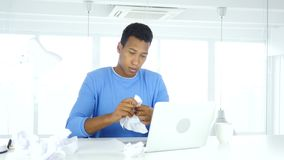 Found answer, Afro-American man working on documents at work. 4k, high quality stock footage